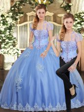Luxury Beading and Appliques Sweet 16 Dresses Light Blue Lace Up Sleeveless Floor Length