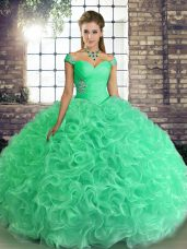 Luxurious Off The Shoulder Sleeveless Fabric With Rolling Flowers Quinceanera Dress Beading Lace Up