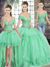 Elegant Sleeveless Tulle Floor Length Lace Up 15 Quinceanera Dress in Apple Green with Beading and Ruffles