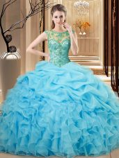 Smart Baby Blue Sleeveless Beading and Ruffles Floor Length Quince Ball Gowns
