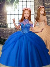 High-neck Sleeveless Tulle Little Girls Pageant Gowns Beading Lace Up