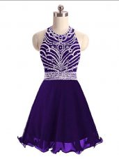 Nice Mini Length Purple Party Dress Wholesale Halter Top Sleeveless Lace Up