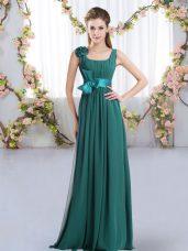 Modern Sleeveless Floor Length Belt and Hand Made Flower Zipper Dama Dress for Quinceanera with Peacock Green