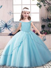 Beautiful Blue Ball Gowns Tulle Off The Shoulder Sleeveless Beading Floor Length Lace Up Little Girl Pageant Dress