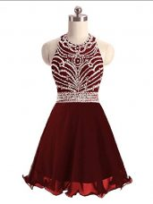 Discount Sleeveless Mini Length Beading Lace Up Party Dress for Toddlers with Burgundy