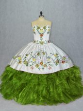 Fashionable Floor Length Olive Green Sweet 16 Dress Sweetheart Sleeveless Lace Up