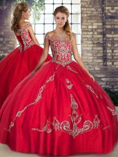 Dramatic Off The Shoulder Sleeveless Lace Up Sweet 16 Dress Red Tulle