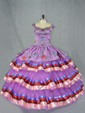 Exceptional Purple Lace Up Sweet 16 Dresses Embroidery and Ruffled Layers Sleeveless Floor Length