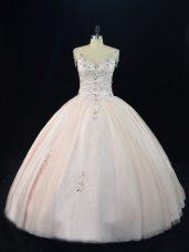 Customized Pink Tulle Lace Up V-neck Sleeveless Floor Length Sweet 16 Dresses Beading