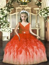 Tulle Sleeveless Floor Length Juniors Party Dress and Beading and Ruffles