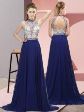 Royal Blue Celeb Inspired Gowns Chiffon Brush Train Sleeveless Beading