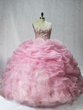 Baby Pink Organza Lace Up Sweet 16 Dress Sleeveless Floor Length Beading and Ruffles and Pick Ups