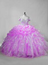 Discount Lilac Sleeveless Brush Train Beading and Ruffles and Pick Ups Quince Ball Gowns