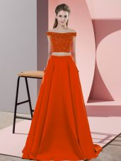 Rust Red Off The Shoulder Neckline Beading Prom Party Dress Sleeveless Backless