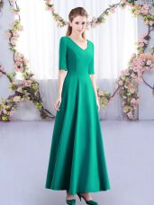 Turquoise Satin Zipper V-neck Half Sleeves Ankle Length Quinceanera Dama Dress Ruching