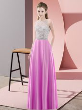 Graceful Lilac Sleeveless Satin Backless Party Dress for Prom and Party