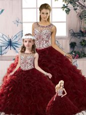 Colorful Burgundy Sleeveless Organza Lace Up Quince Ball Gowns for Military Ball and Sweet 16 and Quinceanera