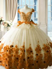 Tulle 15th Birthday Dress Brush Train and Hand Made Flower