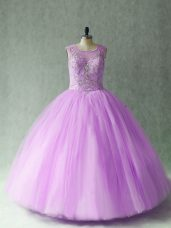 Fashion Floor Length Lilac Quinceanera Dress Scoop Sleeveless Lace Up