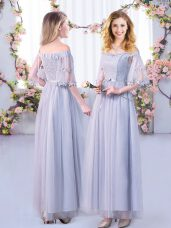 Shining Grey Off The Shoulder Side Zipper Lace and Belt Bridesmaid Dresses Half Sleeves