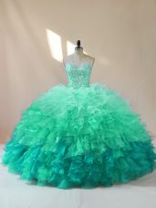 Floor Length Lace Up Vestidos de Quinceanera Multi-color for Sweet 16 and Quinceanera with Beading and Ruffles