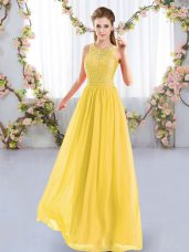 Simple Gold Sleeveless Floor Length Lace Zipper Quinceanera Court Dresses