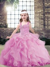Ball Gowns Little Girl Pageant Dress Lilac Straps Tulle Sleeveless Floor Length Lace Up