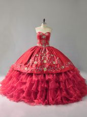 Decent Red Organza Lace Up Sweetheart Sleeveless Floor Length Vestidos de Quinceanera Embroidery and Ruffles