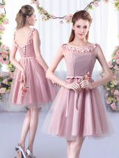 Tulle Scoop Sleeveless Lace Up Appliques and Belt Quinceanera Dama Dress in Pink