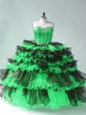 Green Ball Gowns Organza Sweetheart Sleeveless Beading and Ruffled Layers Floor Length Lace Up Quinceanera Gown