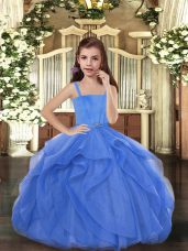 Floor Length Blue Pageant Gowns For Girls Straps Sleeveless Lace Up