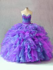Sumptuous Sleeveless Floor Length Beading and Appliques and Ruffles Lace Up 15th Birthday Dress with Multi-color