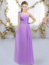 Low Price Chiffon Sleeveless Floor Length Wedding Guest Dresses and Hand Made Flower