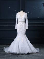 Elegant White Long Sleeves Brush Train Beading and Lace Wedding Dresses
