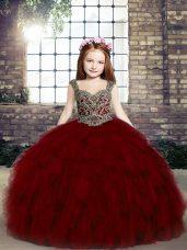 Straps Sleeveless Little Girl Pageant Dress Floor Length Beading and Ruffles Red Tulle