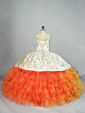 Fashionable Orange Ball Gowns Sweetheart Sleeveless Organza Floor Length Lace Up Embroidery and Ruffles 15th Birthday Dress