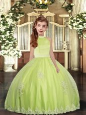 High Quality Floor Length Yellow Green Pageant Gowns For Girls Tulle Sleeveless Beading and Appliques