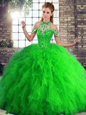 Romantic Halter Top Sleeveless Lace Up Sweet 16 Dress Green Tulle