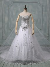 Customized Chapel Train Ball Gowns Wedding Dresses White Sweetheart Tulle Sleeveless Lace Up