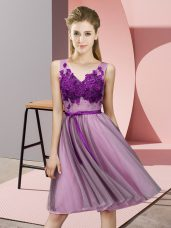 Extravagant Lilac Sleeveless Tulle Lace Up Vestidos de Damas for Wedding Party