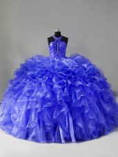 Halter Top Sleeveless Brush Train Zipper 15th Birthday Dress Blue Organza