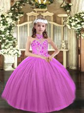 Perfect Lilac Lace Up Halter Top Appliques Girls Pageant Dresses Tulle Sleeveless