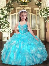 Aqua Blue Lace Up Pageant Dress Wholesale Beading and Ruffles Sleeveless Floor Length