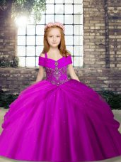 Low Price Fuchsia Lace Up Beading Little Girls Pageant Dress Sleeveless
