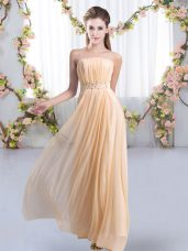 Ideal Sleeveless Beading Lace Up Wedding Party Dress with Peach Sweep Train