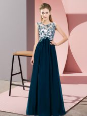 Super Floor Length Empire Sleeveless Navy Blue Dama Dress for Quinceanera Zipper