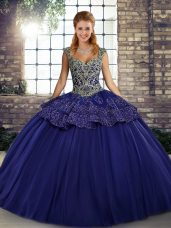 Luxury Ball Gowns 15 Quinceanera Dress Purple Straps Tulle Sleeveless Floor Length Lace Up