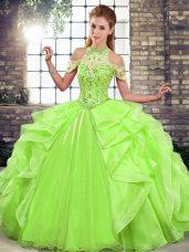 Sophisticated Sleeveless Beading and Ruffles Floor Length Sweet 16 Dress