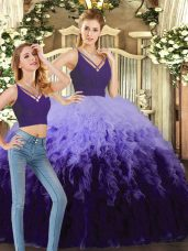 Graceful Purple and Multi-color Tulle Backless V-neck Sleeveless Floor Length Vestidos de Quinceanera Beading and Ruffles