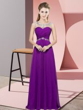 Low Price Sleeveless Floor Length Beading Backless Evening Dress with Eggplant Purple